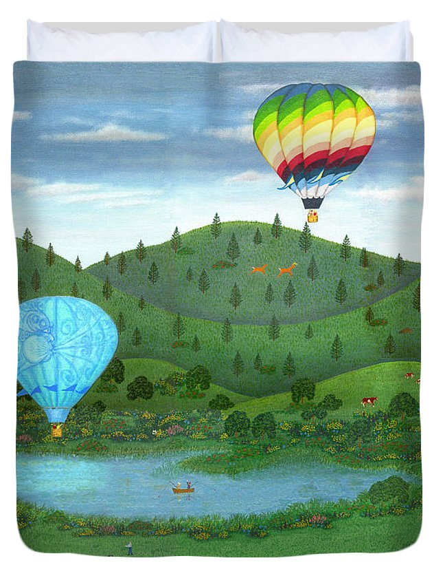 Folk Art Landscape Duvet Cover featuring the painting Ballooning 8 by Linda Mears
