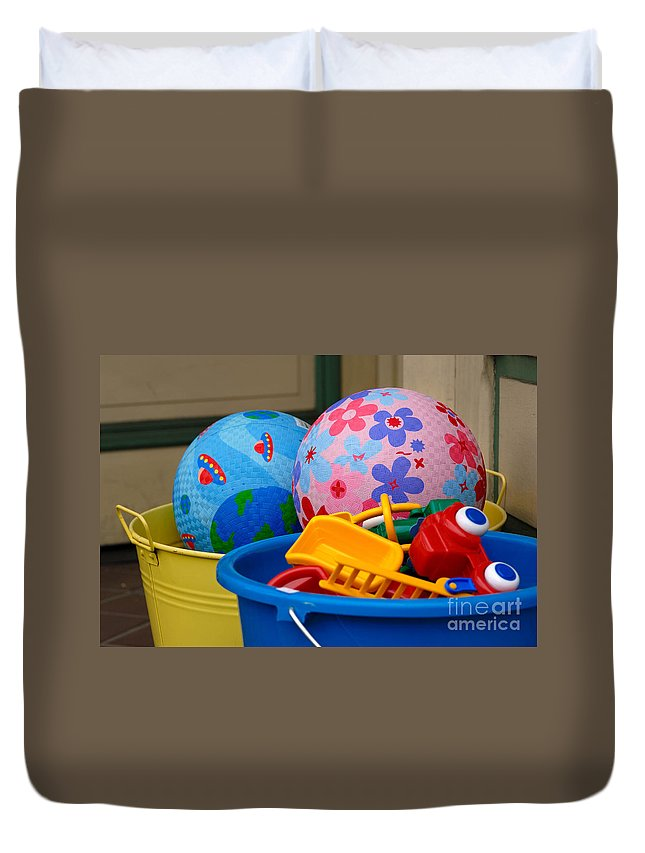 Ball Duvet Cover featuring the photograph Balls And Toys In Buckets by Amy Cicconi