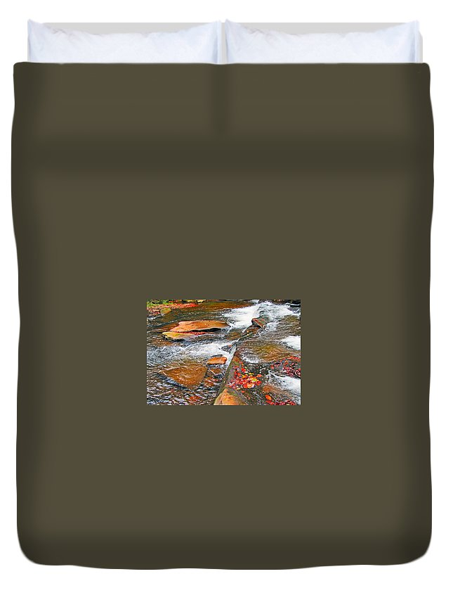 Balsam Duvet Cover featuring the photograph Balsam River Rocks And Leaves by Cynthia McCullough