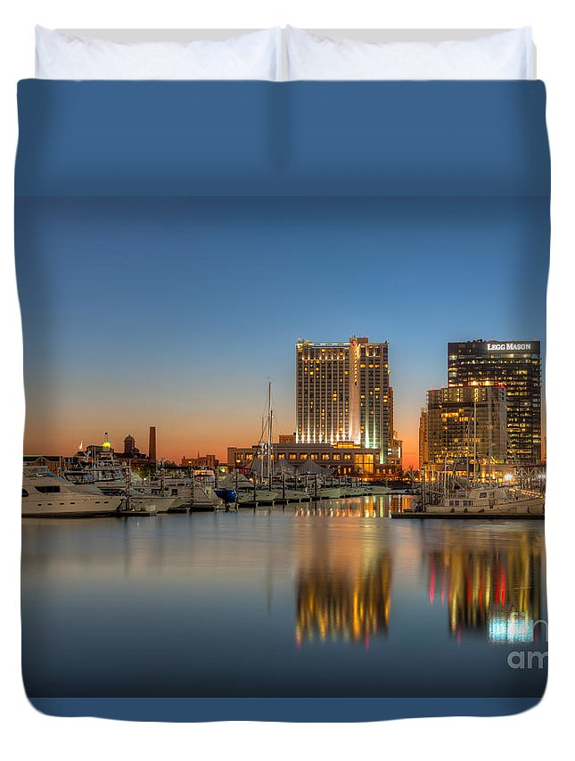 Clarence Holmes Duvet Cover featuring the photograph Baltimore Inner Harbor East Skyline At Dawn I by Clarence Holmes