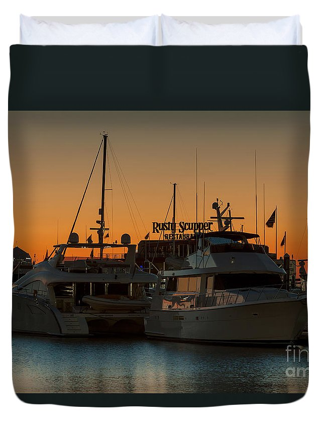Clarence Holmes Duvet Cover featuring the photograph Baltimore Inner Harbor Marina At Dawn I by Clarence Holmes