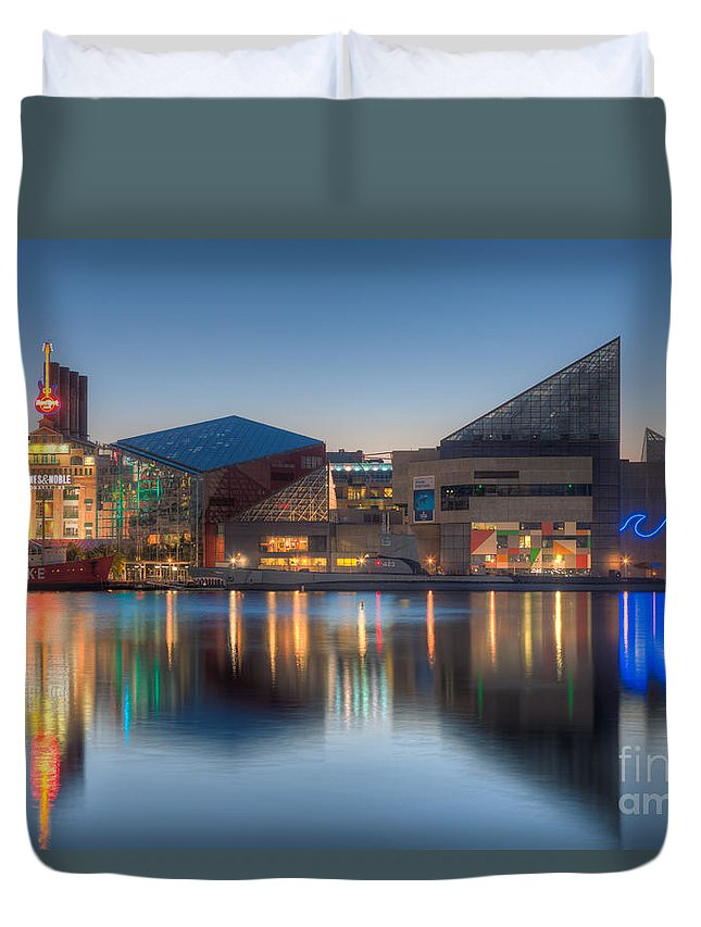 Clarence Holmes Duvet Cover featuring the photograph Baltimore National Aquarium At Dawn I by Clarence Holmes
