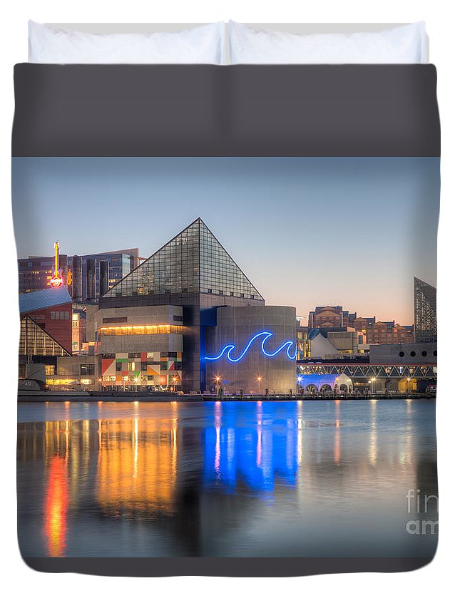 Clarence Holmes Duvet Cover featuring the photograph Baltimore National Aquarium At Dawn IIi by Clarence Holmes