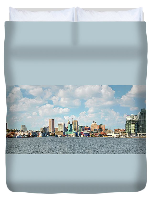 Downtown District Duvet Cover featuring the photograph Baltimore Skyline And Inner Harbor by Greg Pease
