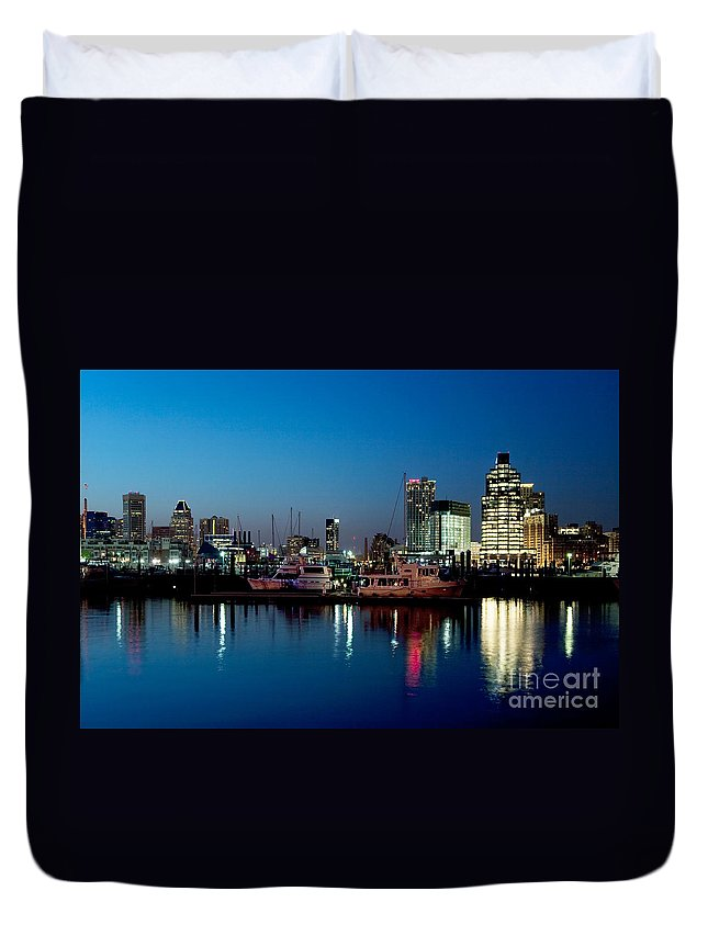 Baltimore Duvet Cover featuring the photograph Baltimore Skyline At Dusk by Bill Cobb