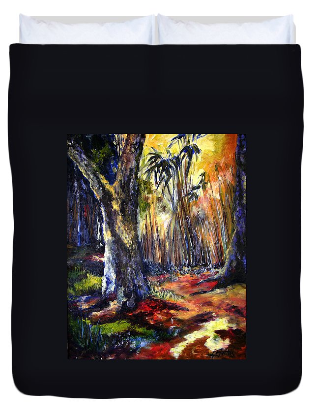 Colorful Duvet Cover featuring the painting Bamboo Garden With Bunny by Julianne Felton