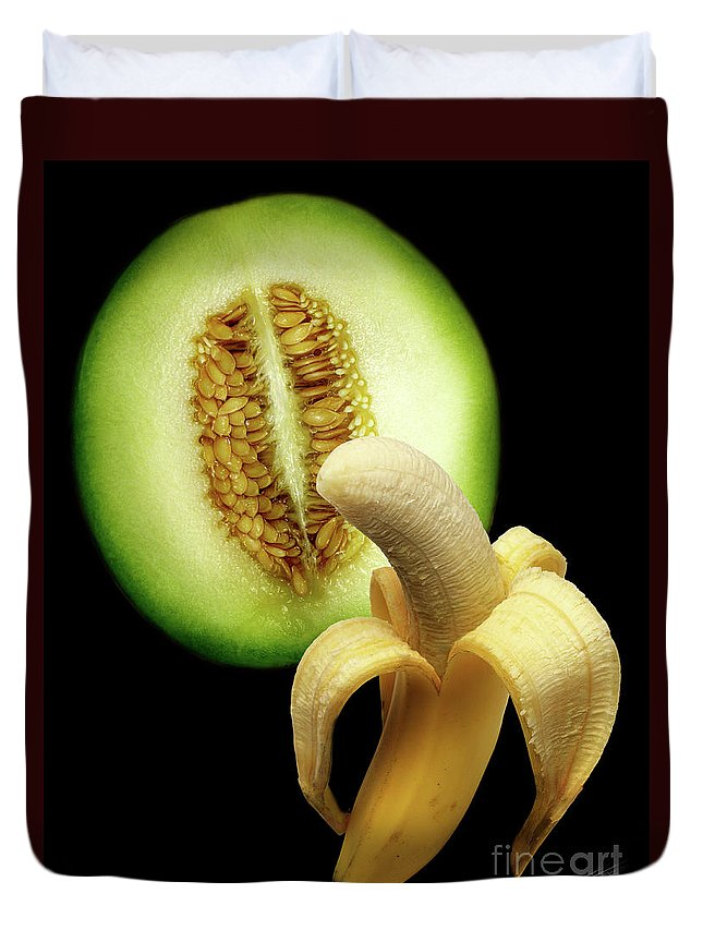 Erotic Art Duvet Cover featuring the photograph Banana And Honeydew by Peter Piatt