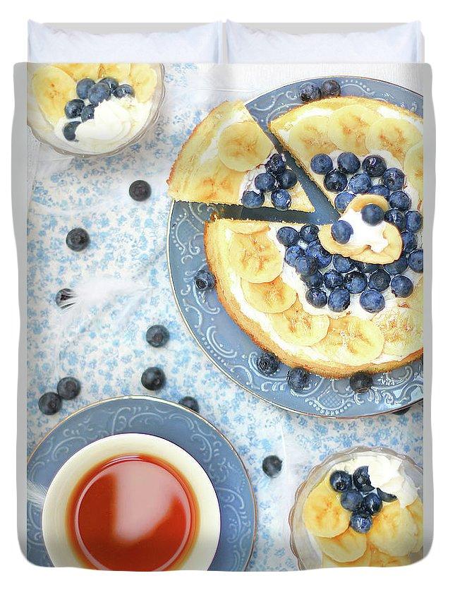 Yokohama Duvet Cover featuring the photograph Banana Cake And Tea by Yurif