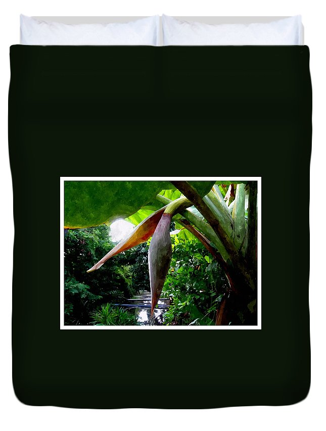 Banana Duvet Cover featuring the painting Banana Flower by Jeelan Clark