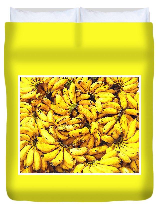 Banana Duvet Cover featuring the painting Banana by Jeelan Clark