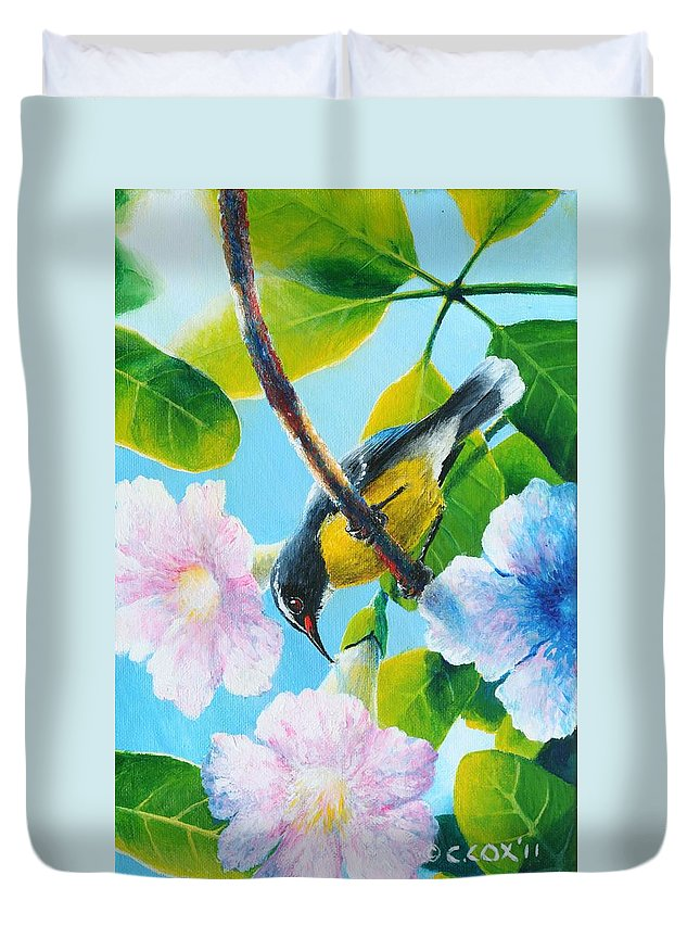 Chris Cox Duvet Cover featuring the painting Bananaquit and white cedar by Christopher Cox