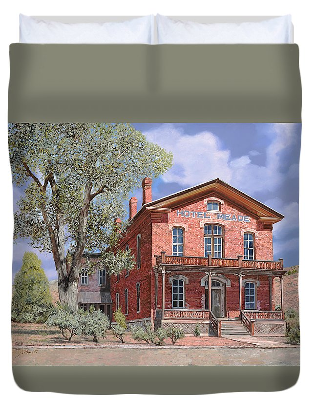 Montana Duvet Cover featuring the painting Bannock-montana-hotel Meade by Guido Borelli