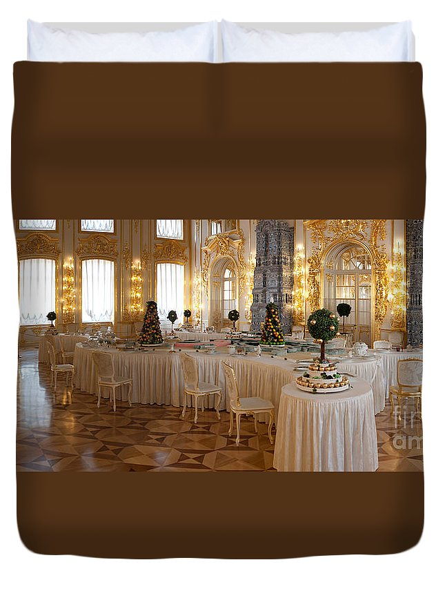 Architecture Duvet Cover featuring the photograph Banquet Room Summer Palace St Petersburg Russia by Thomas Marchessault