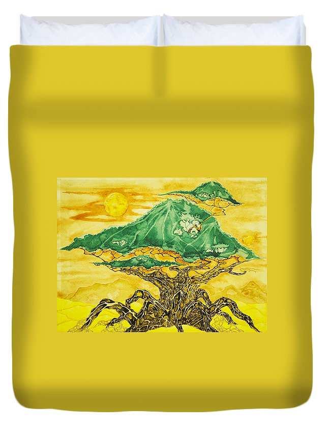 Tree Duvet Cover featuring the painting Banyan And Two Suns by Daniel P Cronin