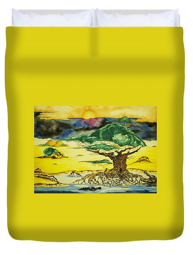Tree Duvet Cover featuring the painting Banyan With Two Crocs by Daniel P Cronin