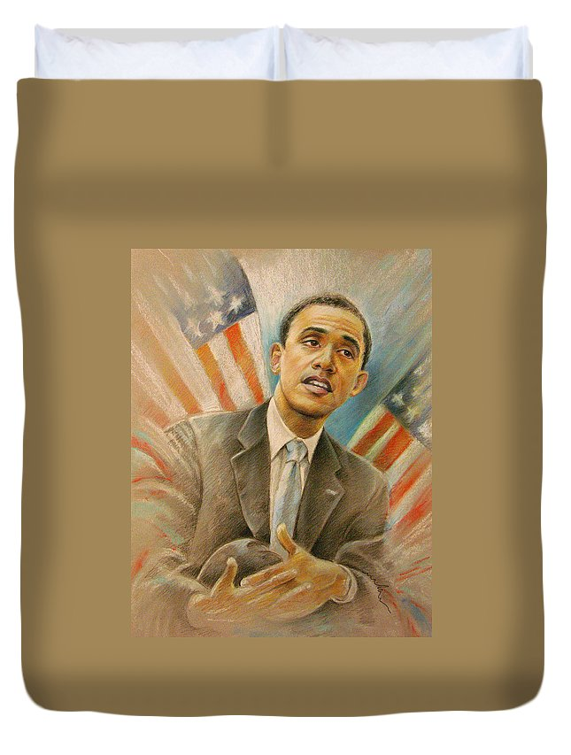 Barack Obama Portrait Duvet Cover featuring the painting Barack Obama Taking It Easy by Miki De Goodaboom