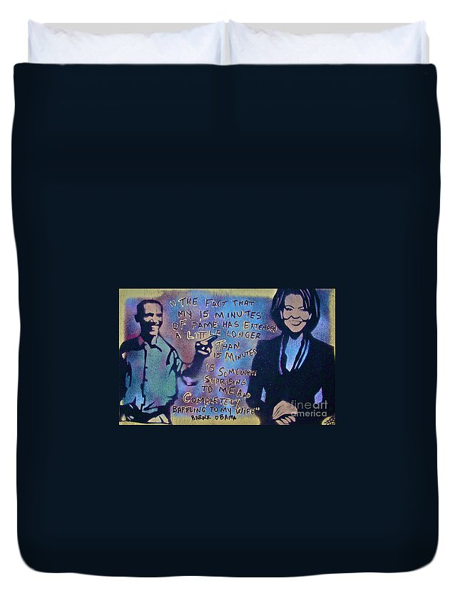 Barack Obama Duvet Cover featuring the painting Barack With Michelle by Tony B Conscious