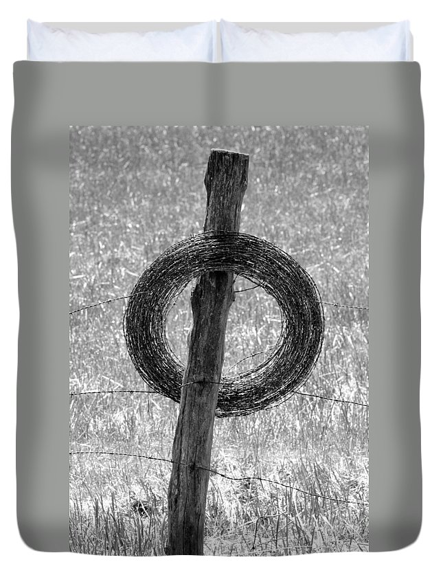 Barbed Wire Duvet Cover featuring the photograph Barbed by John Cardamone