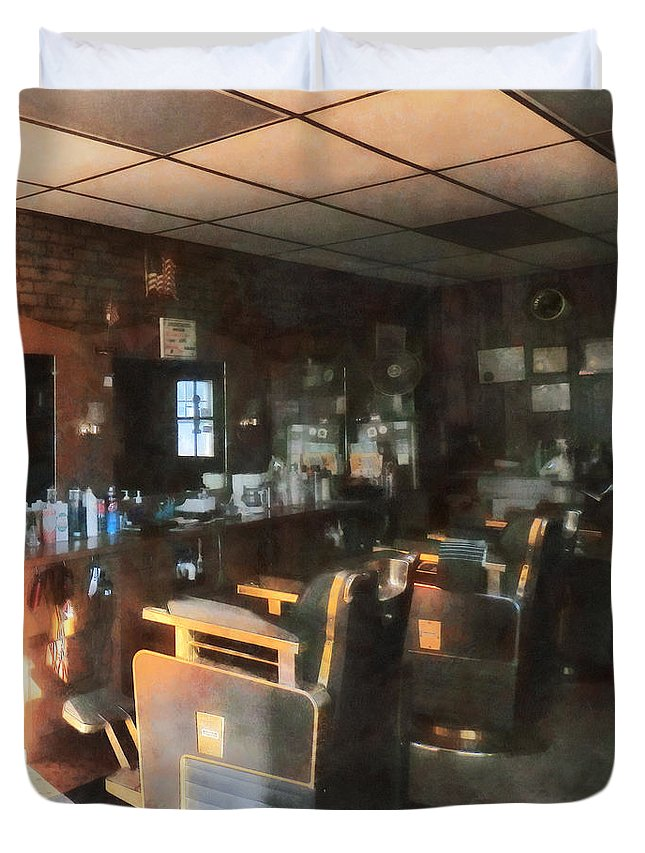 Barber Duvet Cover featuring the photograph Barber - Barber Shop With Sun Streaming Through Window by Susan Savad