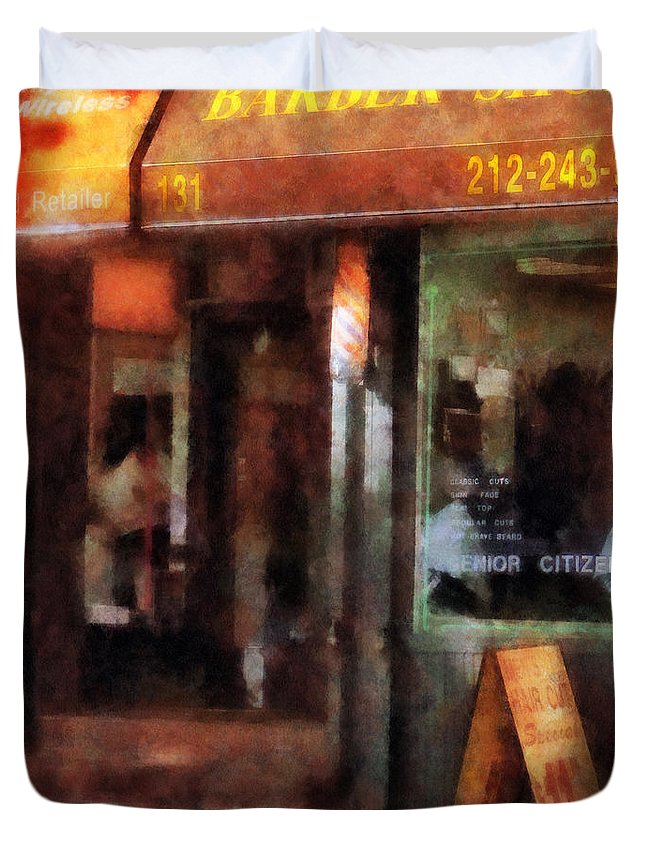 Barber Duvet Cover featuring the photograph Barber - West Village Barber Shop by Susan Savad