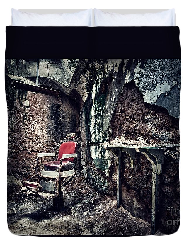 Chair Duvet Cover featuring the photograph Barber's Chair by Claudia Kuhn