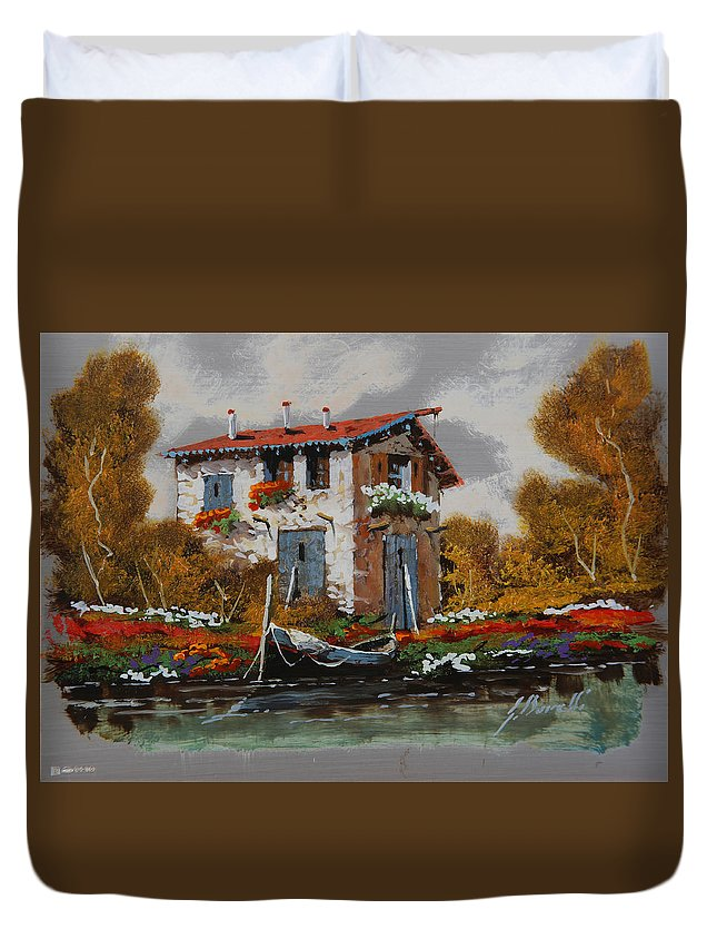 Landscape Duvet Cover featuring the painting Barca Al Molo by Guido Borelli
