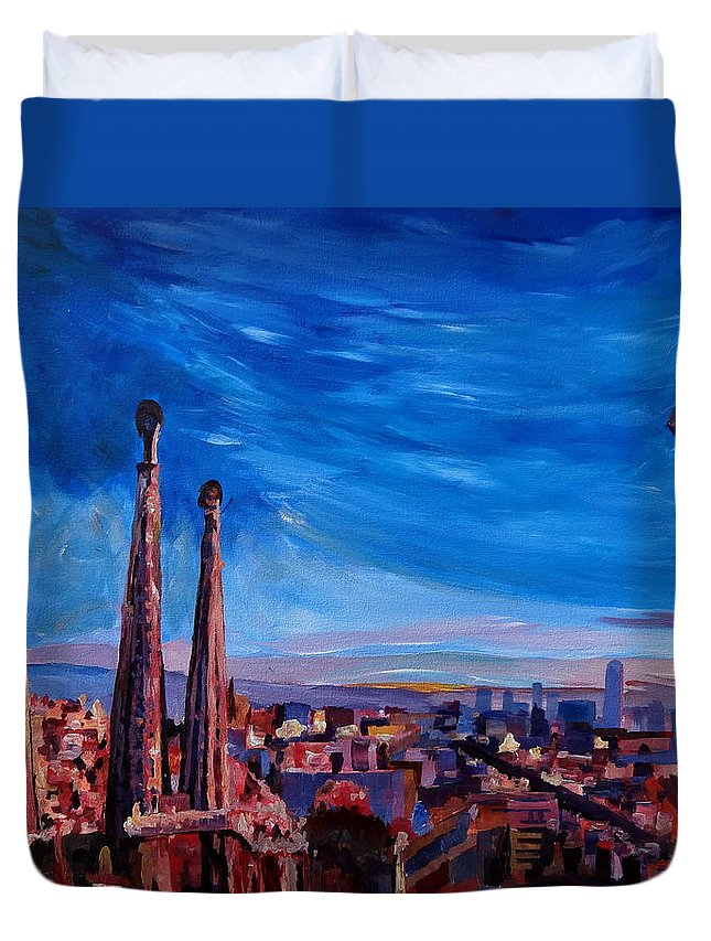 Barcelona Duvet Cover featuring the painting Barcelona City View And Sagrada Familia by M Bleichner