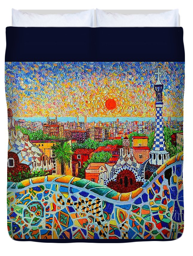 Barcelona Duvet Cover featuring the painting Barcelona View At Sunrise - Park Guell Of Gaudi by Ana Maria Edulescu