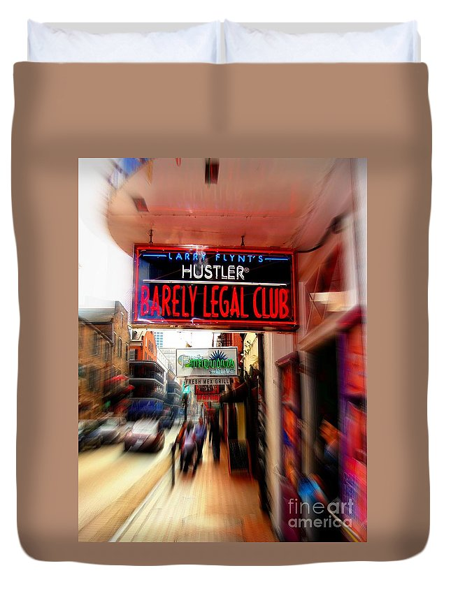 Bourbon Street Duvet Cover featuring the photograph Barely Legal by Ed Weidman
