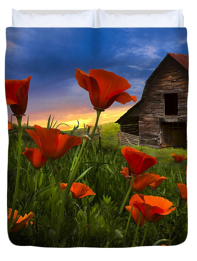 American Duvet Cover featuring the photograph Barn In Poppies by Debra and Dave Vanderlaan