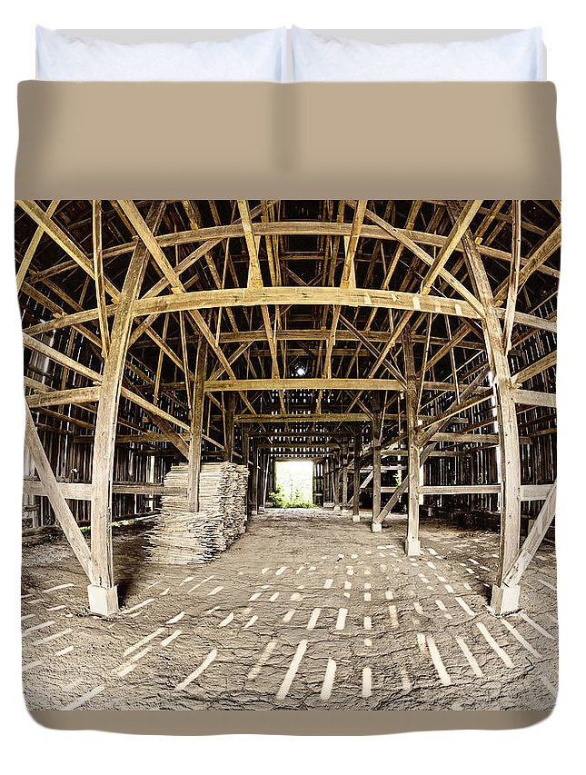 Barn Duvet Cover featuring the photograph Barn Interior by Alexey Stiop
