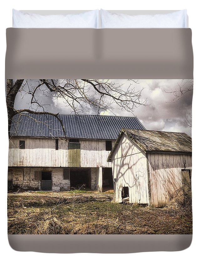 Agriculture Duvet Cover featuring the photograph Barn Near Utica Mills Covered Bridge by Joan Carroll