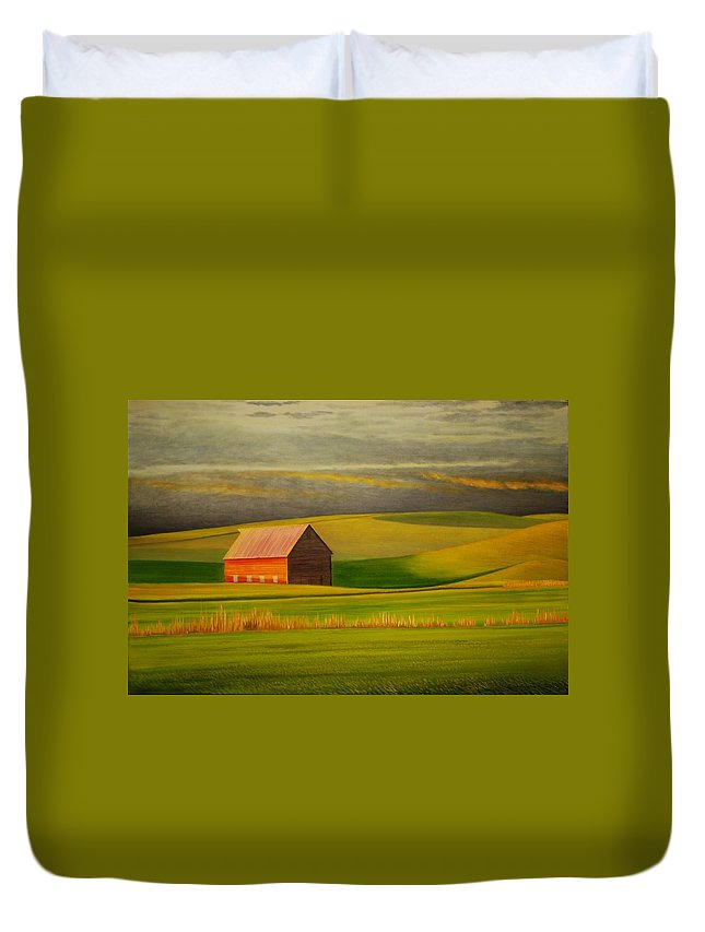 Barn Duvet Cover featuring the painting Barn On The Palouse by Leonard Heid