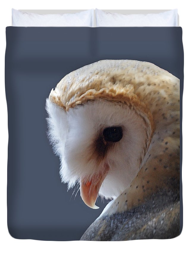 Barn Owls Duvet Cover featuring the digital art Barn Owl Dry Brushed by Ernie Echols