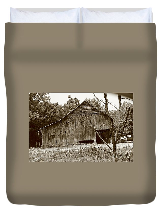 Old Barn Duvet Cover featuring the photograph barn Sepia 2 by Dwight Cook