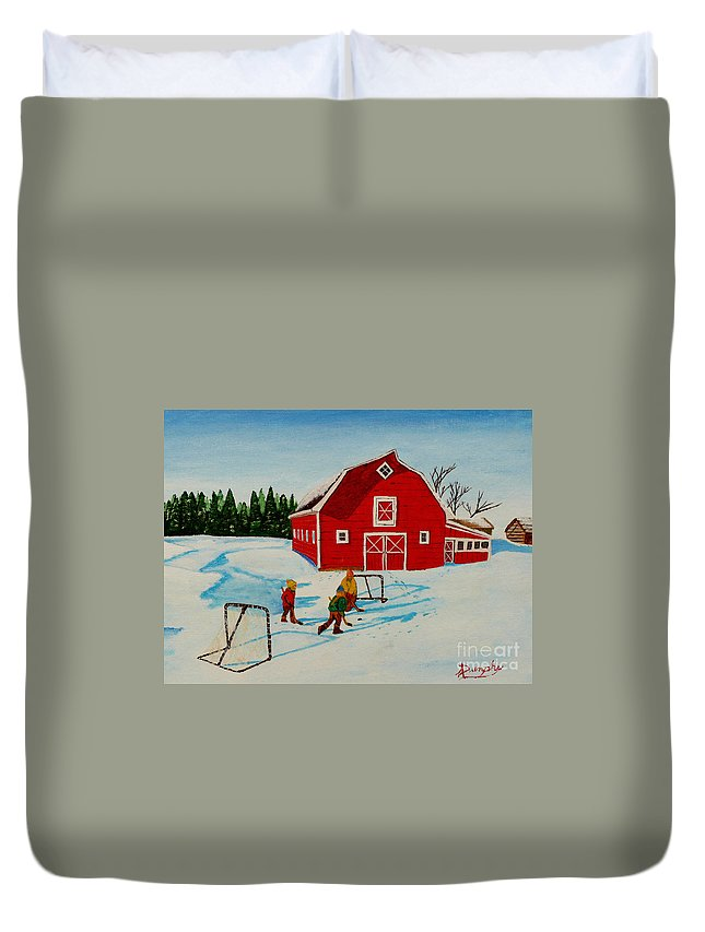 Hockey Duvet Cover featuring the painting Barn Yard Hockey by Anthony Dunphy
