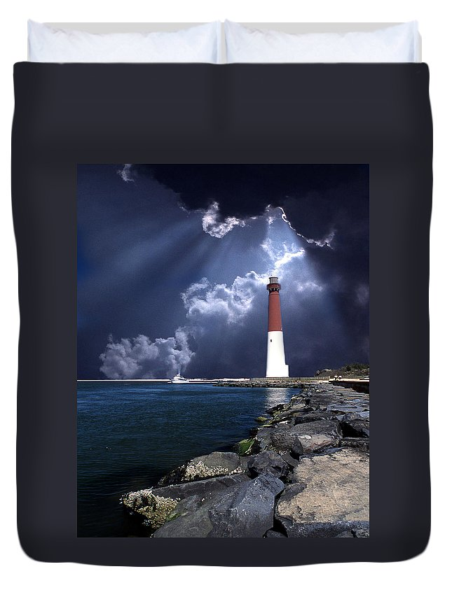 Lighthouse Duvet Cover featuring the photograph Barnegat Inlet Lighthouse Nj by Skip Willits