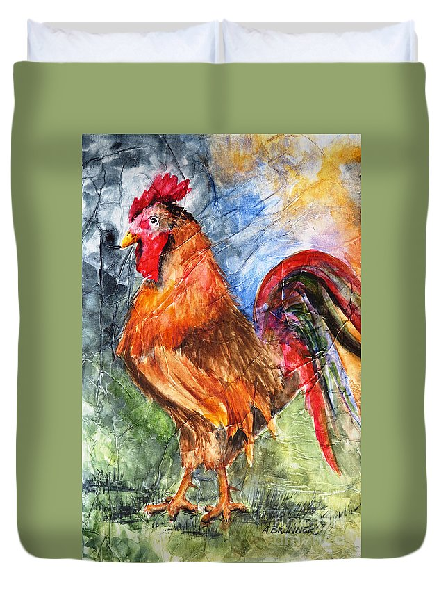Rooster Duvet Cover featuring the painting Barnyard Boss by Alice Brunner