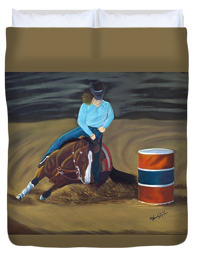 Animal Duvet Cover featuring the painting Barrel Racer by Lana Tyler