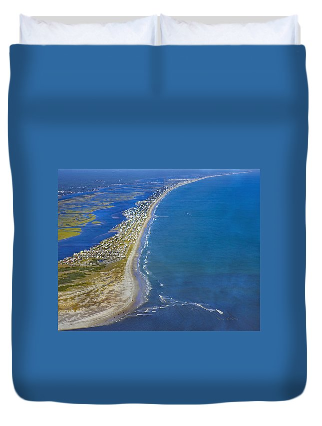 Topsail Duvet Cover featuring the photograph Barrier Island Aerial by Betsy Knapp