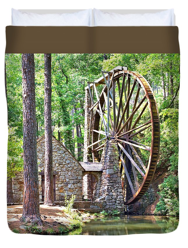10388 Duvet Cover featuring the photograph Berry College's Old Mill - Square by Gordon Elwell