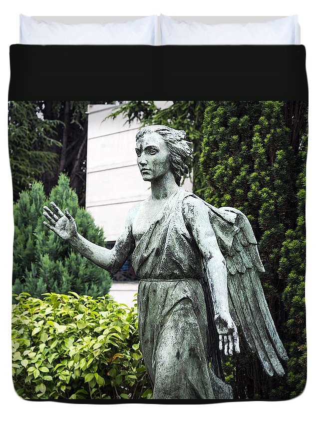 Horizontal Duvet Cover featuring the photograph Barzaghi Memorial Side View II Detail Monumental Cemetery by Sally Rockefeller