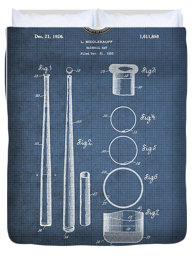 C7 Sports Patents And Blueprints Duvet Cover featuring the digital art Baseball Bat By Lloyd Middlekauff - Vintage Patent Blueprint by Serge Averbukh