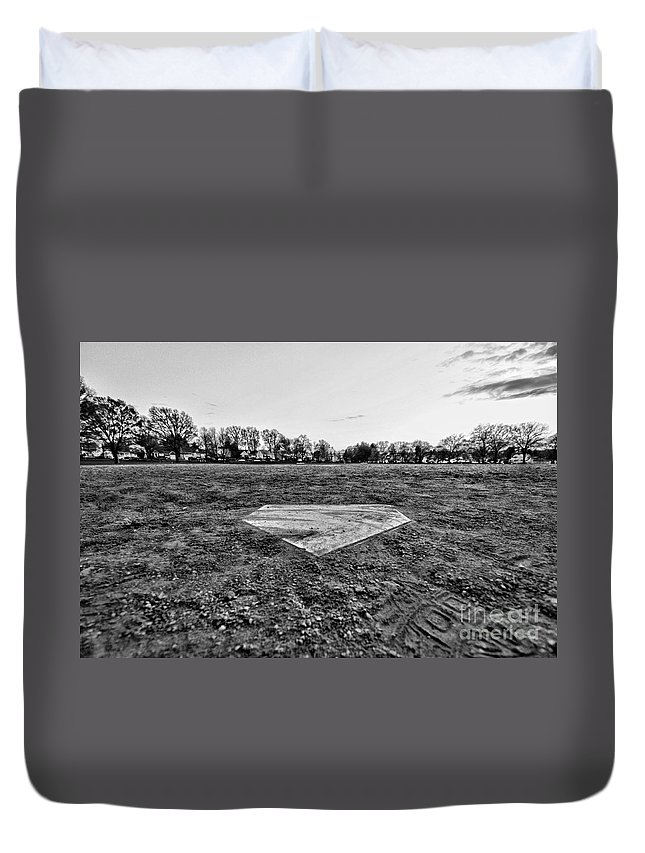 Paul Ward Duvet Cover featuring the photograph Baseball - Home Plate - Black And White by Paul Ward
