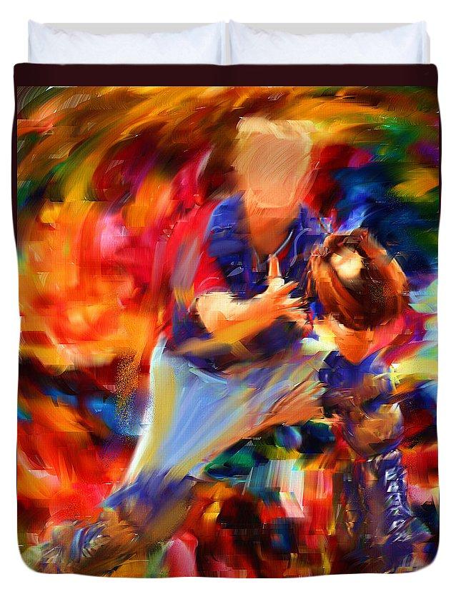 Baseball Duvet Cover featuring the digital art Baseball II by Lourry Legarde