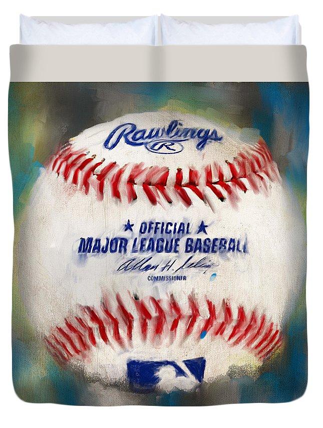Baseball Duvet Cover featuring the digital art Baseball Iv by Lourry Legarde