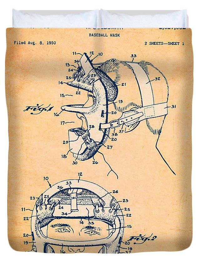 Baseball Duvet Cover featuring the digital art Baseball Mask Patent Orange Us2627602 A by Evgeni Nedelchev