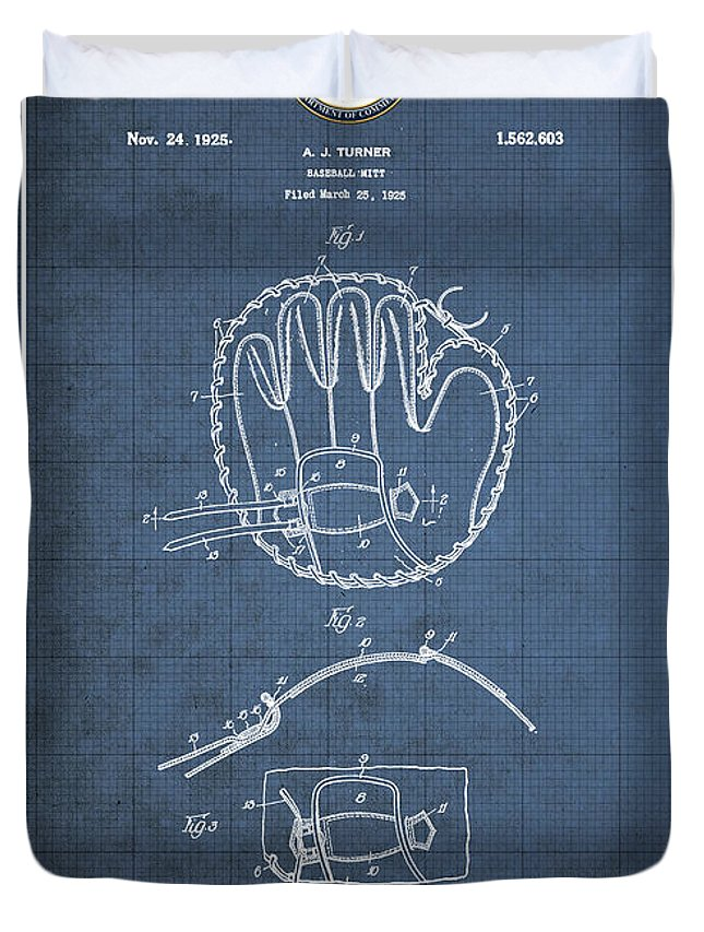 C7 Sports Patents And Blueprints Duvet Cover featuring the digital art Baseball Mitt By Archibald J. Turner - Vintage Patent Blueprint by Serge Averbukh
