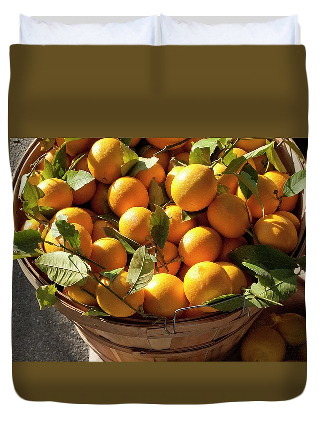 Orange Duvet Cover featuring the photograph Basket Of Fresh Picked Oranges by Bill Boch