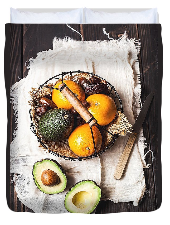 San Francisco Duvet Cover featuring the photograph Basket With Avocado, Oranges And Dates by One Girl In The Kitchen